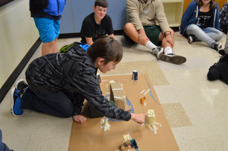 Figure 4: Josef Bonham, CMS 8th grader, presenting his Neolithic Civilization Model