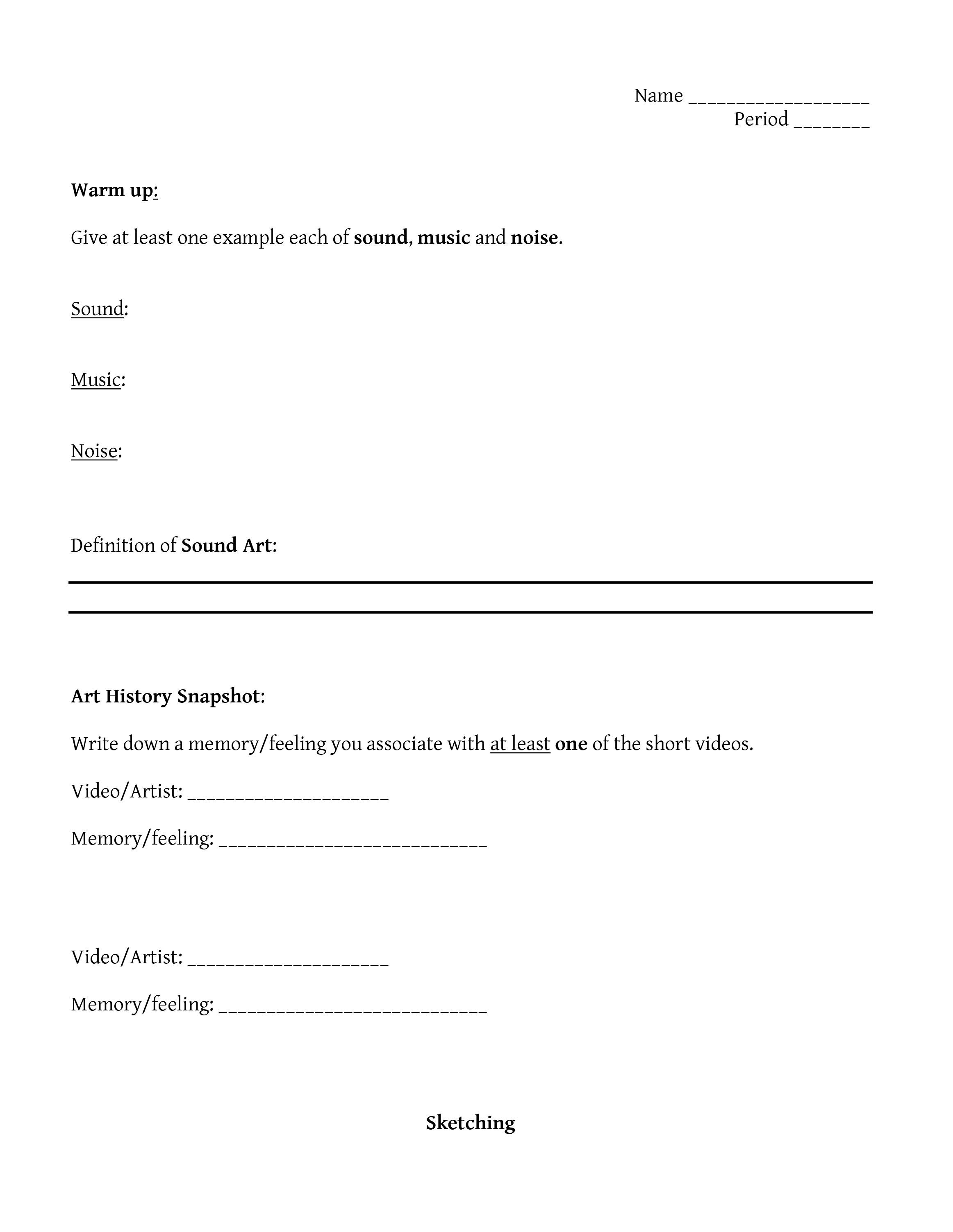 Sound and Light Worksheets