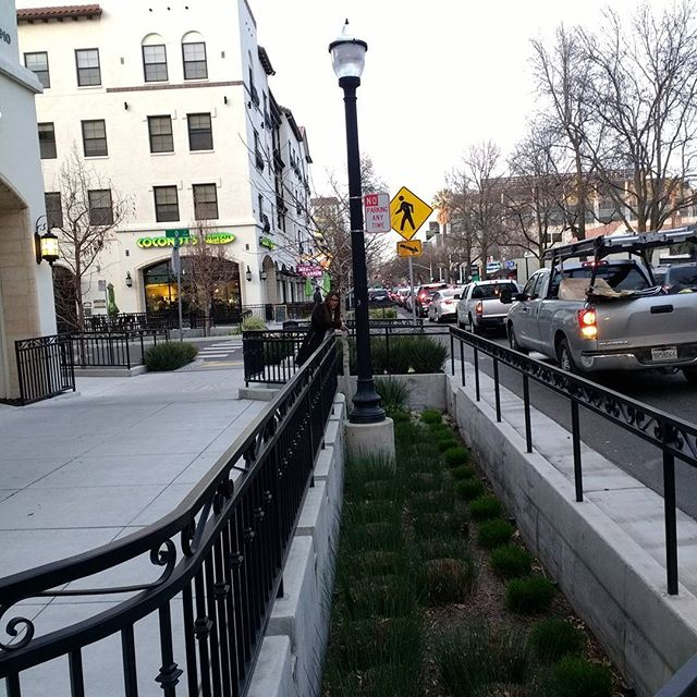 Bioswales are being used along #Sacramento streets keeping the #water downstream #clean.  Low Impact development principles in practice helping millions have clean water down river.