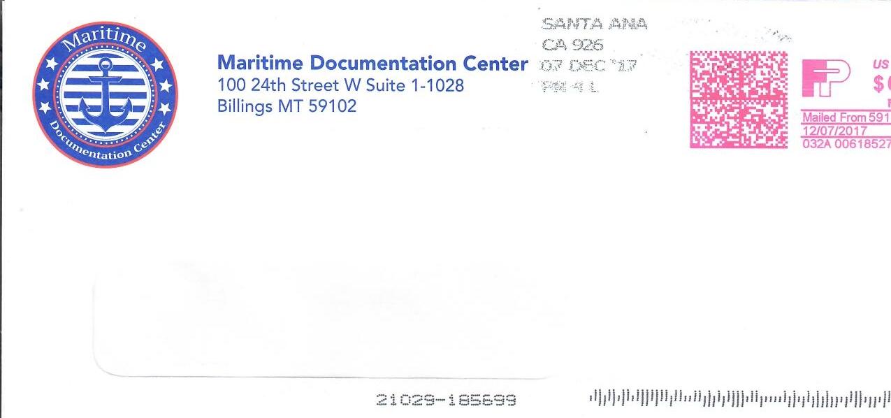 Scam company envelope