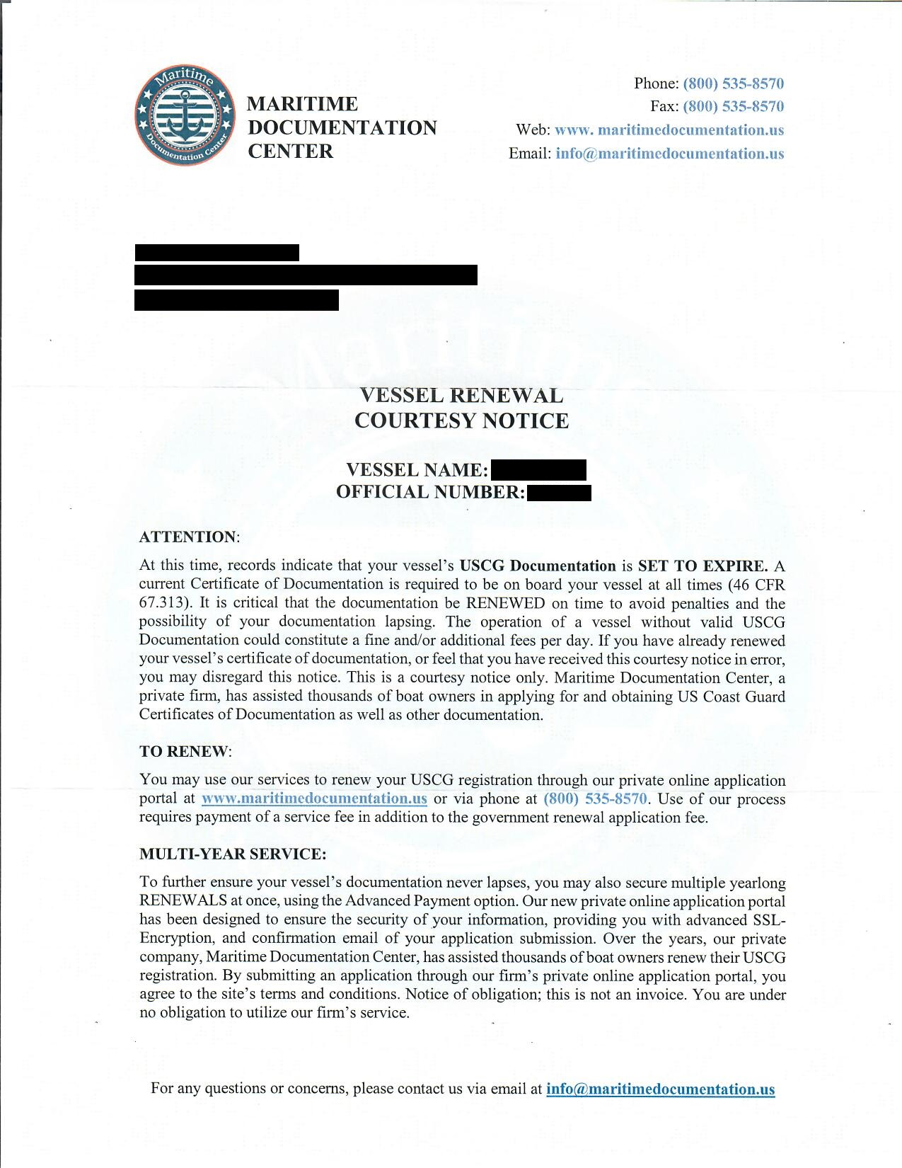 Scam company letter