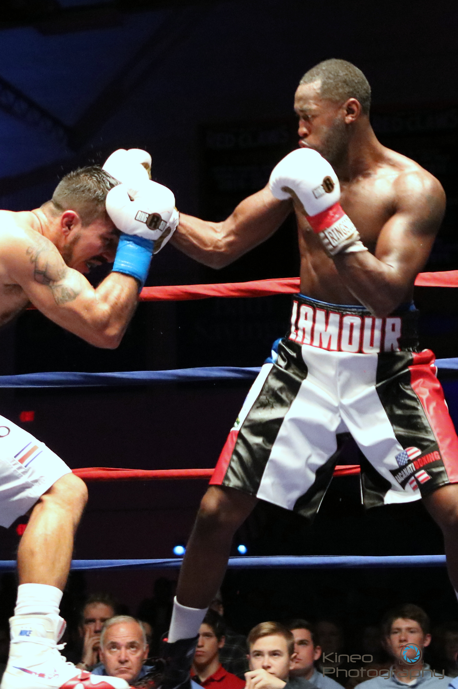 Portland Boxing Club's Russell Lamour, Jr. (right) and Jamie Barboza of San Jose, Costa Rica.  Photo courtesy of Kineo Photography.