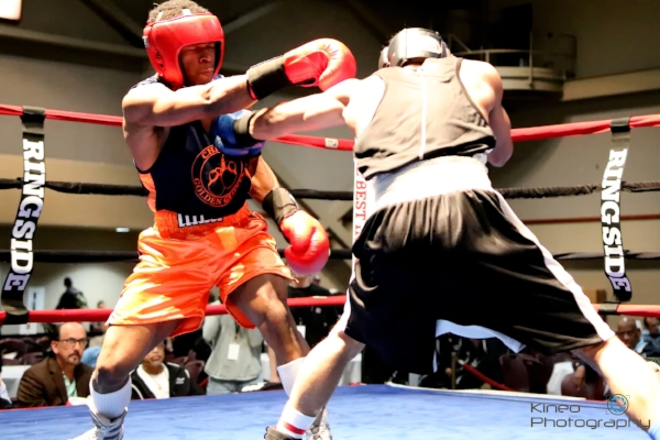Portland Boxing Club's Josniel Castro (right) and Antoine Cobb (left) at the 89th Annual National Golden Gloves Tournament of Champions in Lafayette, LA.