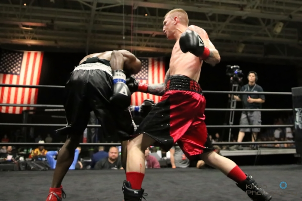 Portland Boxing Club's Casey Kramlich (right) at NEF 29 in Lewiston, ME on June 17, 2017.  Photo courtesy of Kineo Photography.