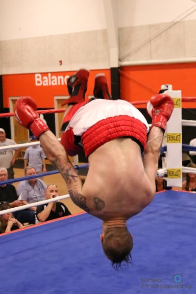 """Portland Boxing Club's Jason """"The Fighting Fireman"""" Quirk after his win by TKO in Skowhegan.  Photo courtesy Kineo Photography."""