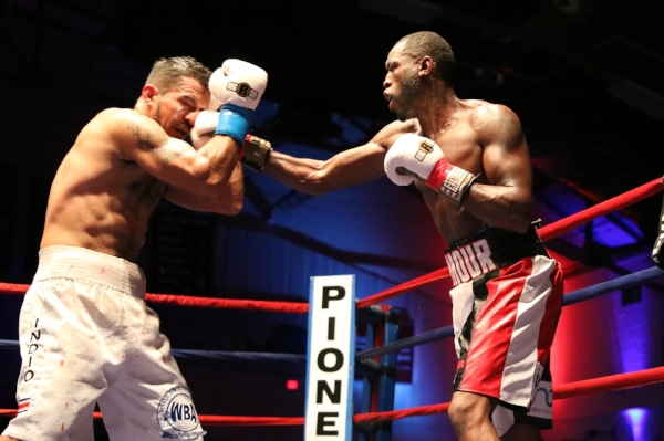 """Portland Boxing Club's Russell """"The Haitian Sensation"""" Lamour (right) at the Portland Expo in 2016. Lamour returns to the Portland Expo on November 11, 2017 vying for the IBA North American Championship.  Photo Courtesy Kineo Photography."""
