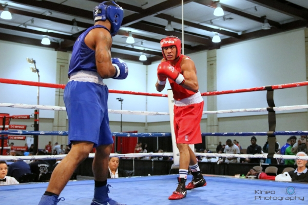 Portland Boxing Club's Josniel Castro (right, red trunks) in the quarterfinals at the USA Boxing 2017 Eastern Elite Qualifiers in Chattanooga, TN.