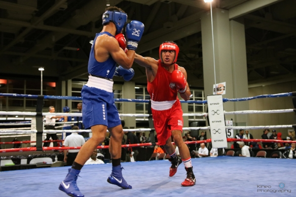 Portland Boxing Club's nationally ranked welterweight, Josniel Castro (right), strikes Brian Ceballo (left) at the 2017 USA Boxing National Championships in Salt Lake City, UT.  Photo courtesy Kineo Photography.