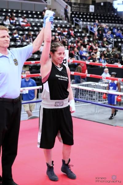 Portland Boxing Club's Liz Leddy at the National Golden Gloves in Omaha, NE.
