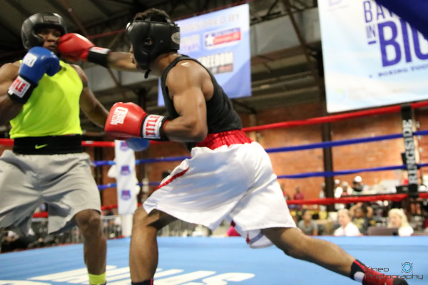 Portland Boxing Club's Josniel Castro (right) at the Battle in Big D tournament in Dallas, TX on July 13, 2018.  Photo courtesy Kineo Photography.