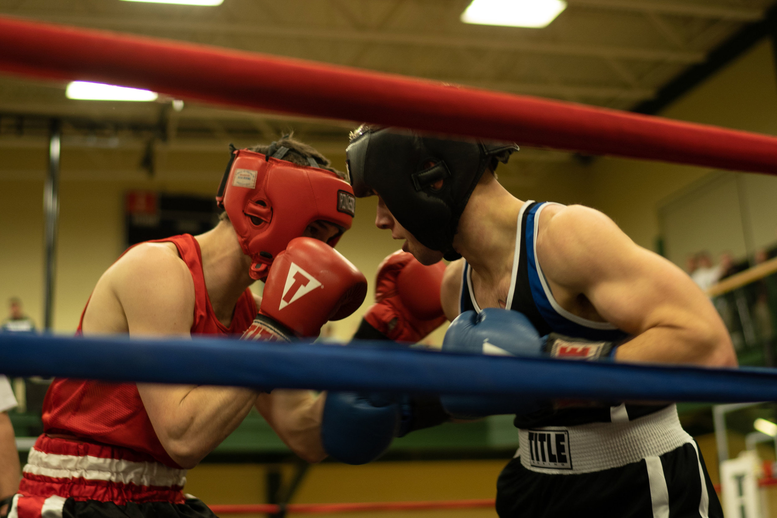 Portland Boxing Club's Alec Dacar, left, made his amateur debut at the Second Annual PAL St. Paddy's Day Rumble. Photo courtesy Shawn Pacheco  shawnpacheco.com .