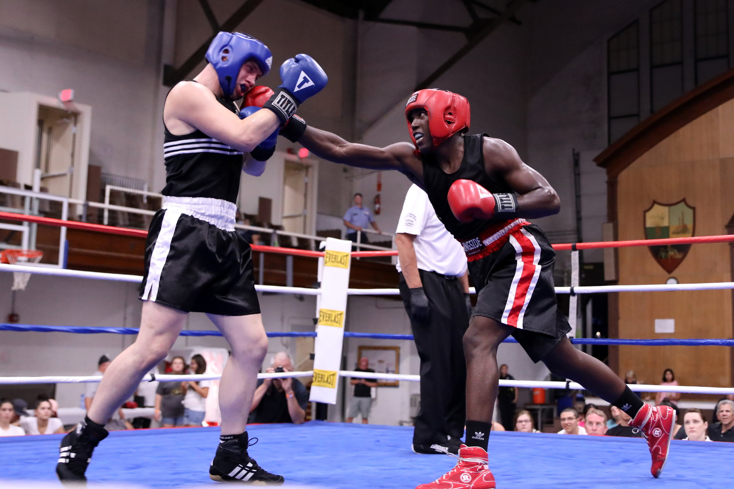 Portland Boxing Club's Wade Faria (right) and Aaron Waite (left) at Get Gritty in the City in Lewiston, ME on August 3, 2019.  Photo courtesy Kineo Photography.