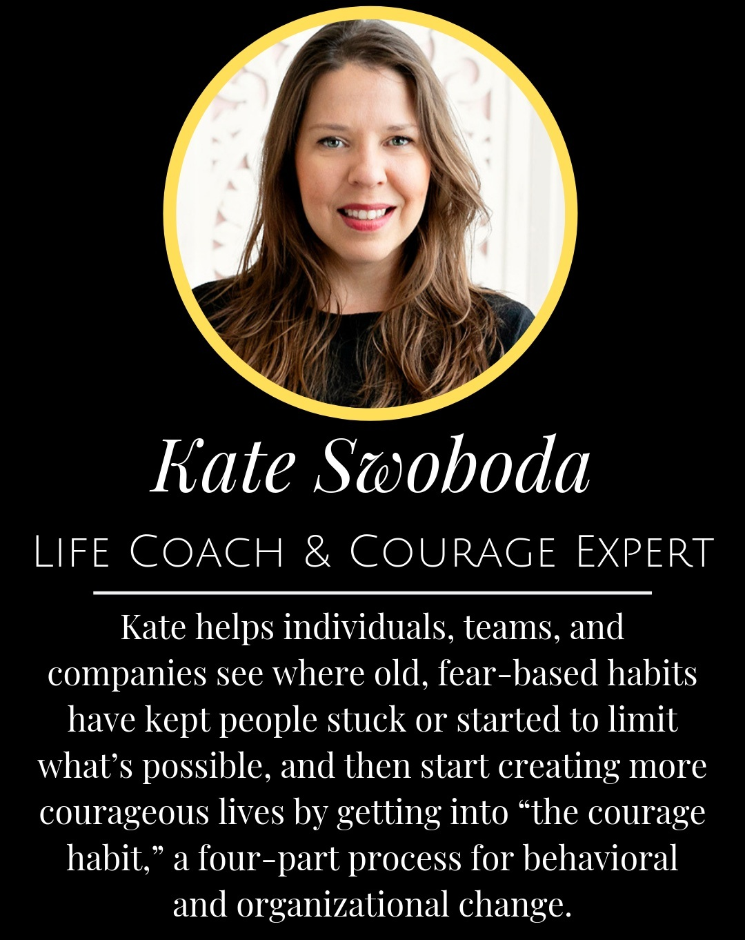 Kate Courageous - An exclusive interview with Kate Courageous where we're diving into how to transform the inner critic and cultivate courage in our everyday lives.Kate is a life coach and expert on how to make courage into a lifelong habit. She's also the Director of the Courageous Living Coach Certification and author of The Courage Habit, and creator of the Courageous Living Program.yourcourageouslife.com | instagram