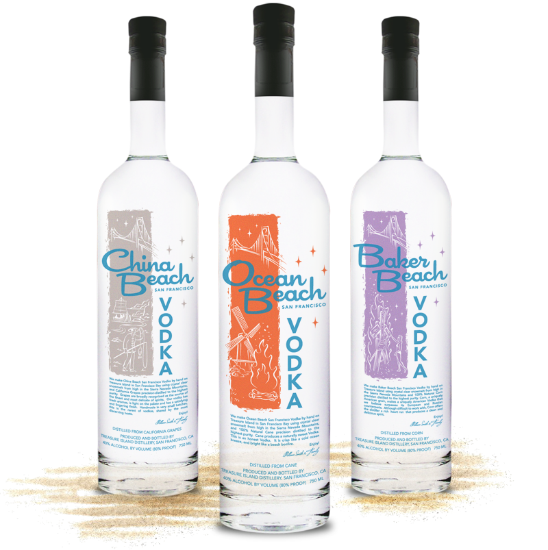 China Ocean Baker Beach Vodka Bottle Packaging Design