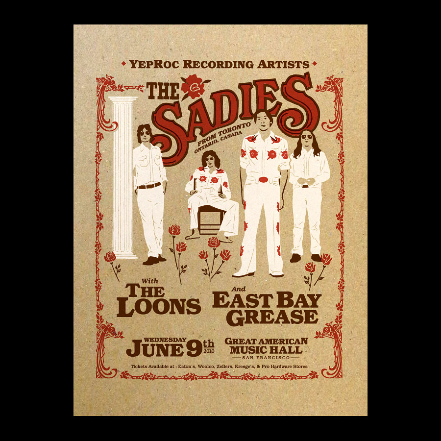 Sadies Rock Band Silkscreened Gig Poster