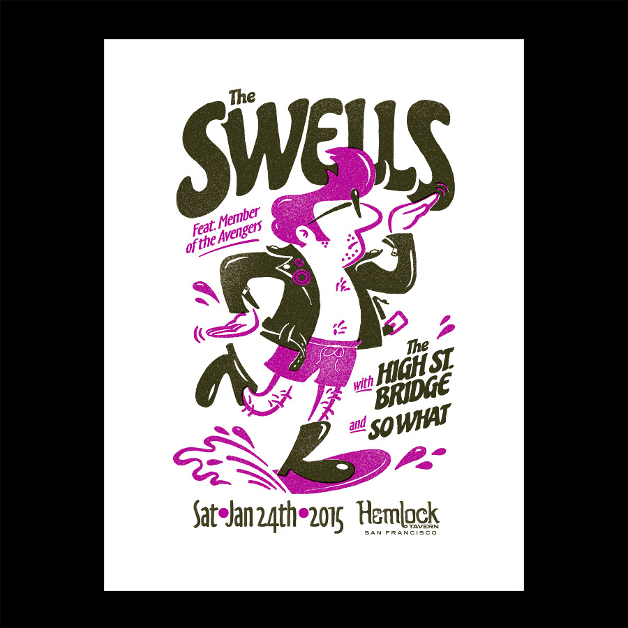 Swells Cartoony Gig Flyer for Rock Show