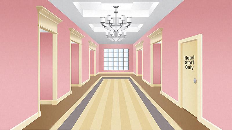 Starwood Resorts Hallway Illustration