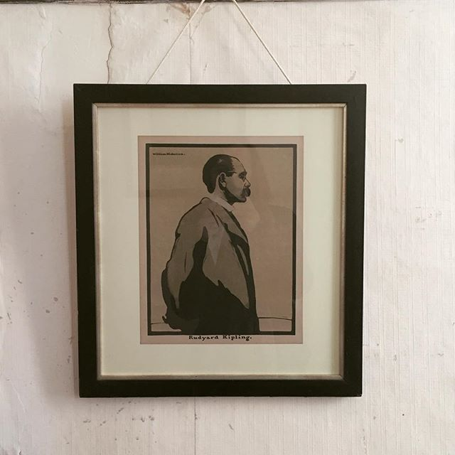Rudyard Kipling (1865-1936) From Twelve Portraits, First Series  By Sir William Nicholson Chromolithograph after the original woodcut, 'The New Review' 1897 @ntchastleton  #masterpiece #hidden #cotswolds #oxfordshire #classic #Jacobean #nationaltrust #everydetail #originaldesign #textiles #architecture #masterworks #rudyardkipling #journalist #author #poet