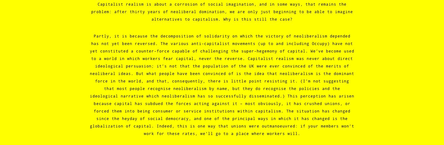 Strike! Magazine | Capitalist Realism by Mark Fisher