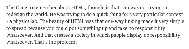Jaron Lanier on Tim Berners-Lee