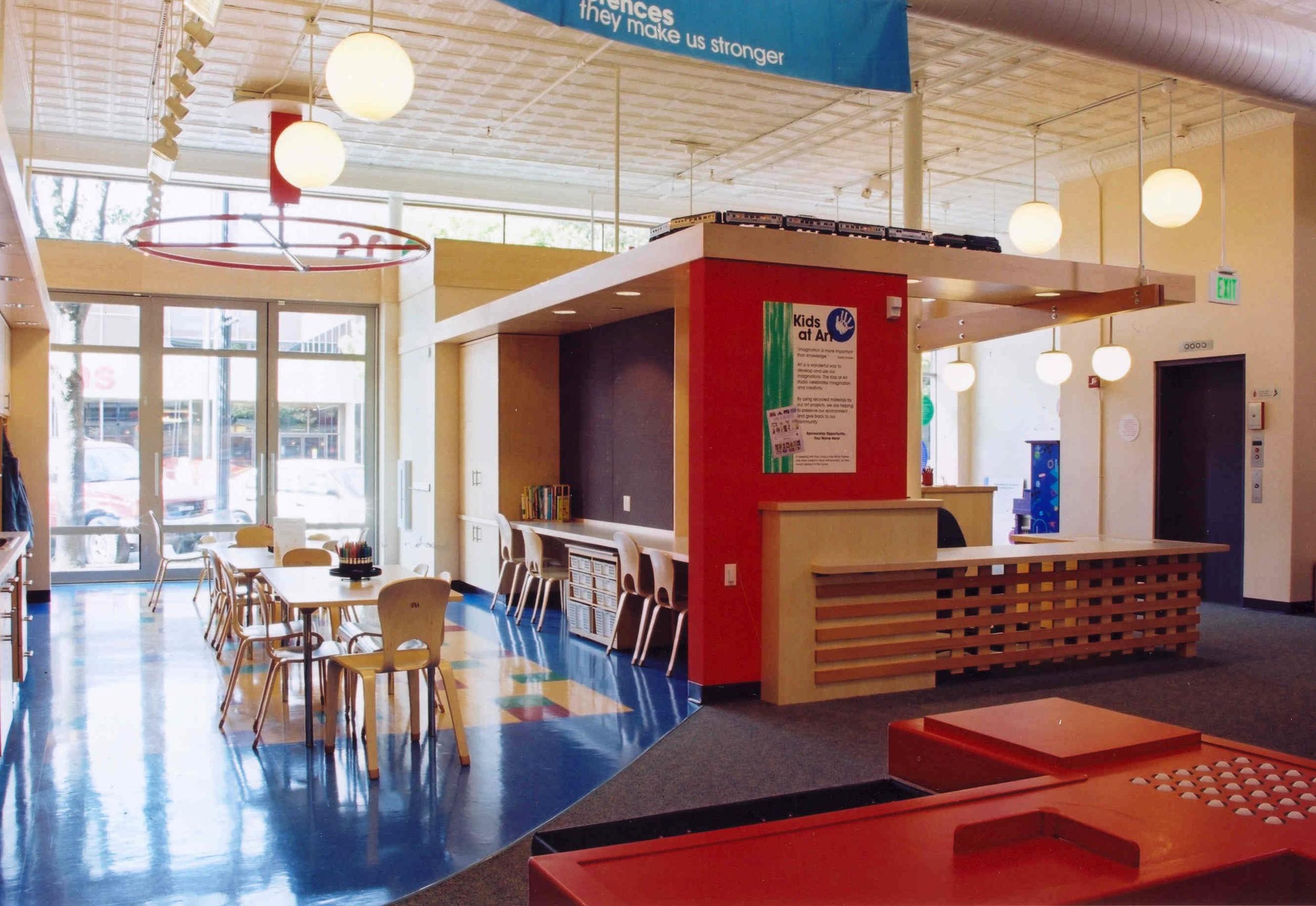 Art area and reception desk