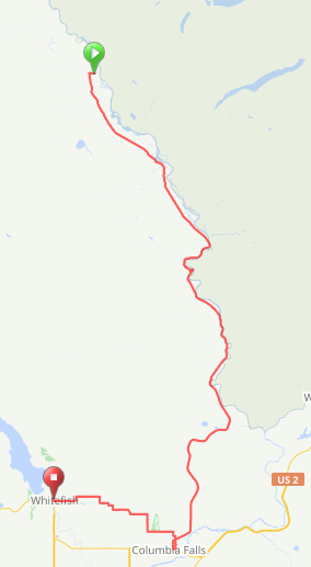 Our plan to get back to Whitefish from Polebridge
