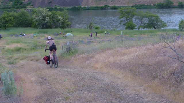 Rolling into our dream spot on the Deschutes River in May