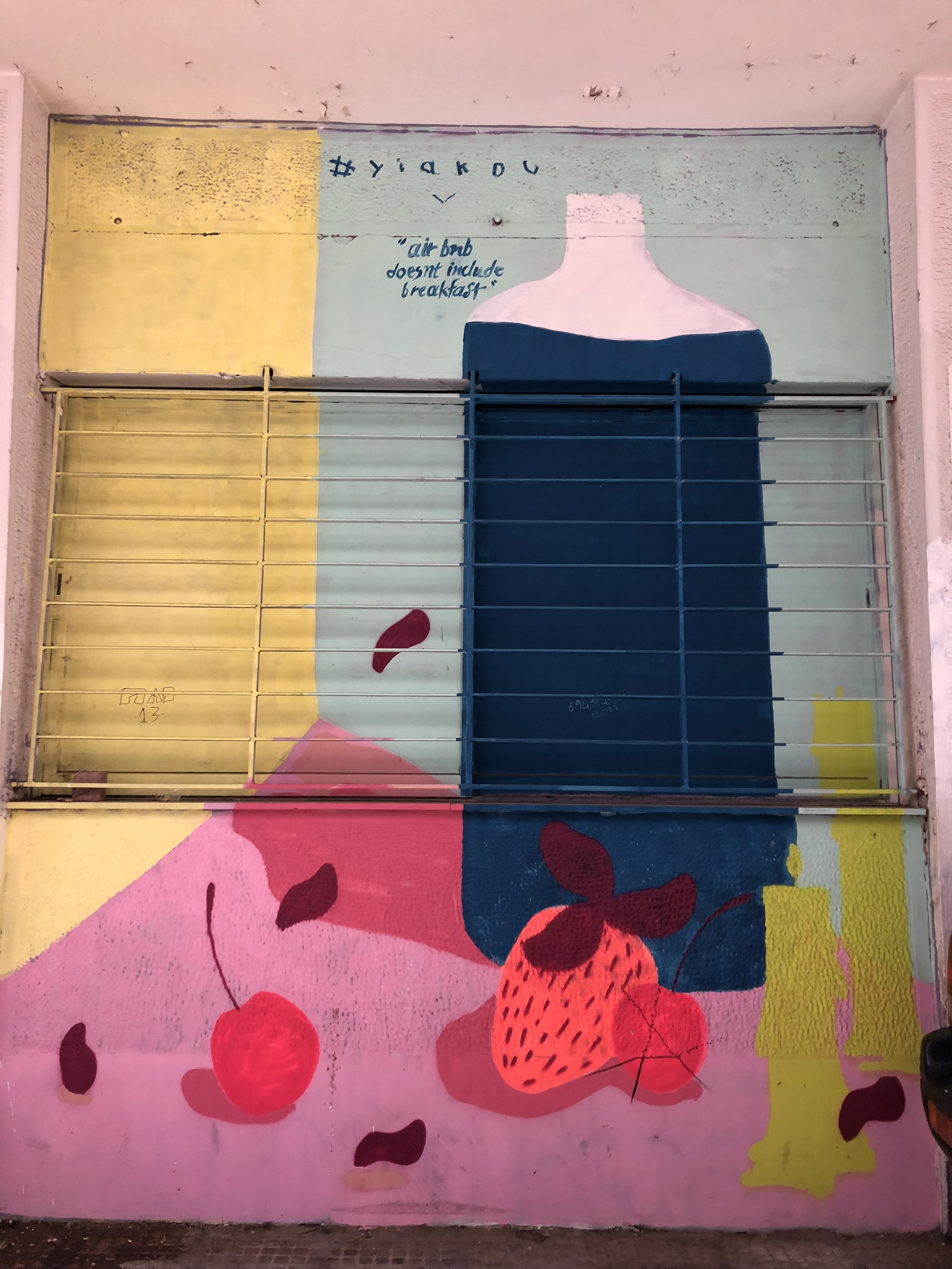 """AirBNB doesn't include breakfast"" street art"