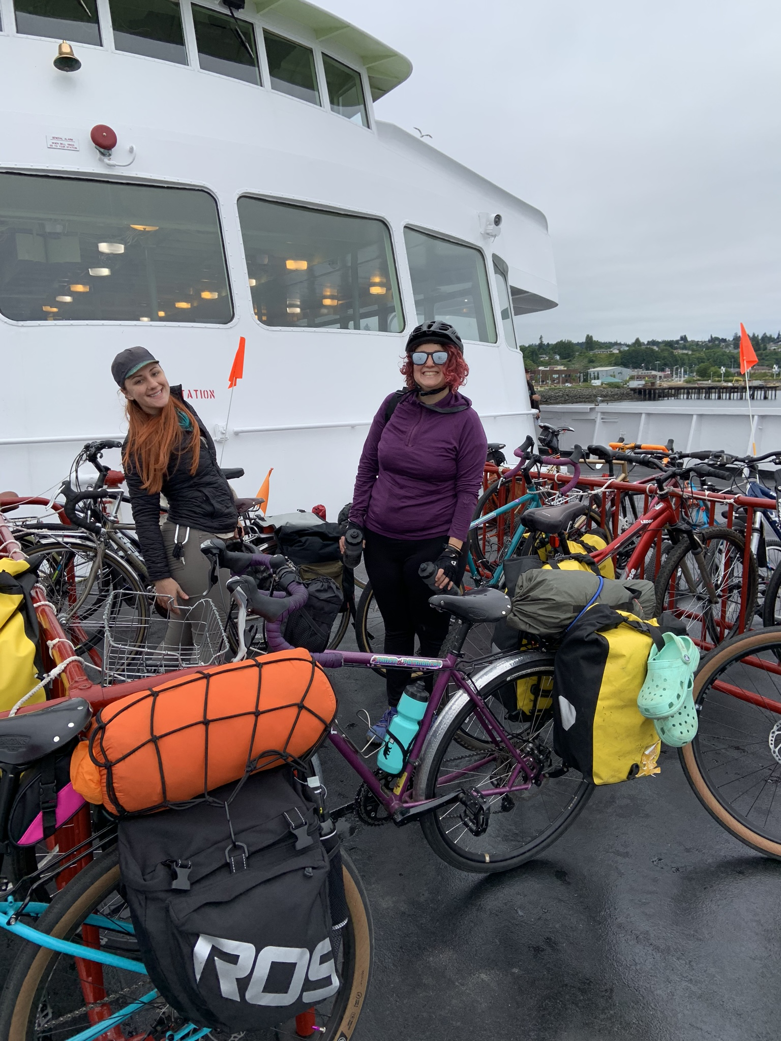 The bike racks on the Black Ball Ferry to Victoria