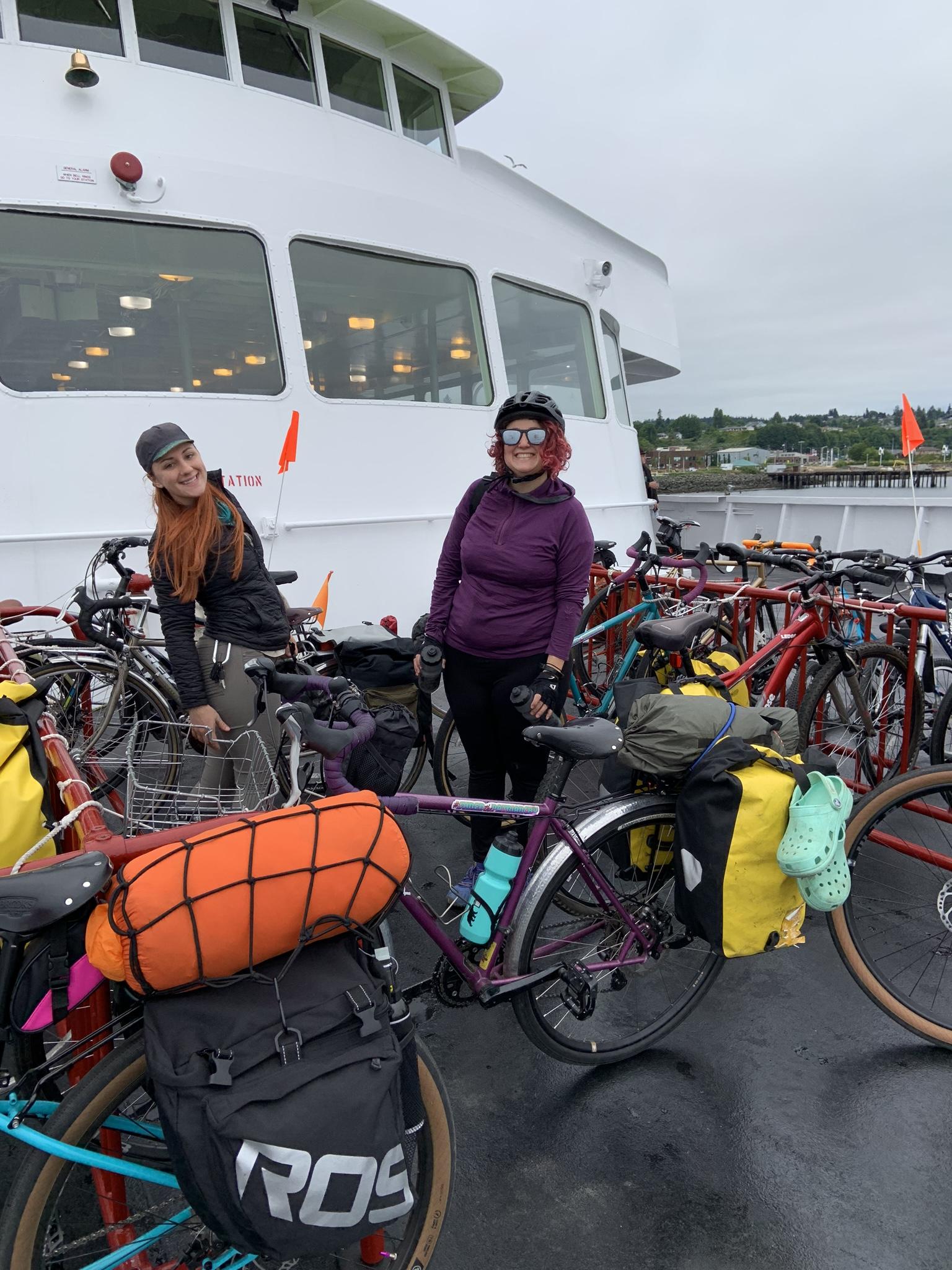 The bike racks on the Black Ball Ferry to Victoria