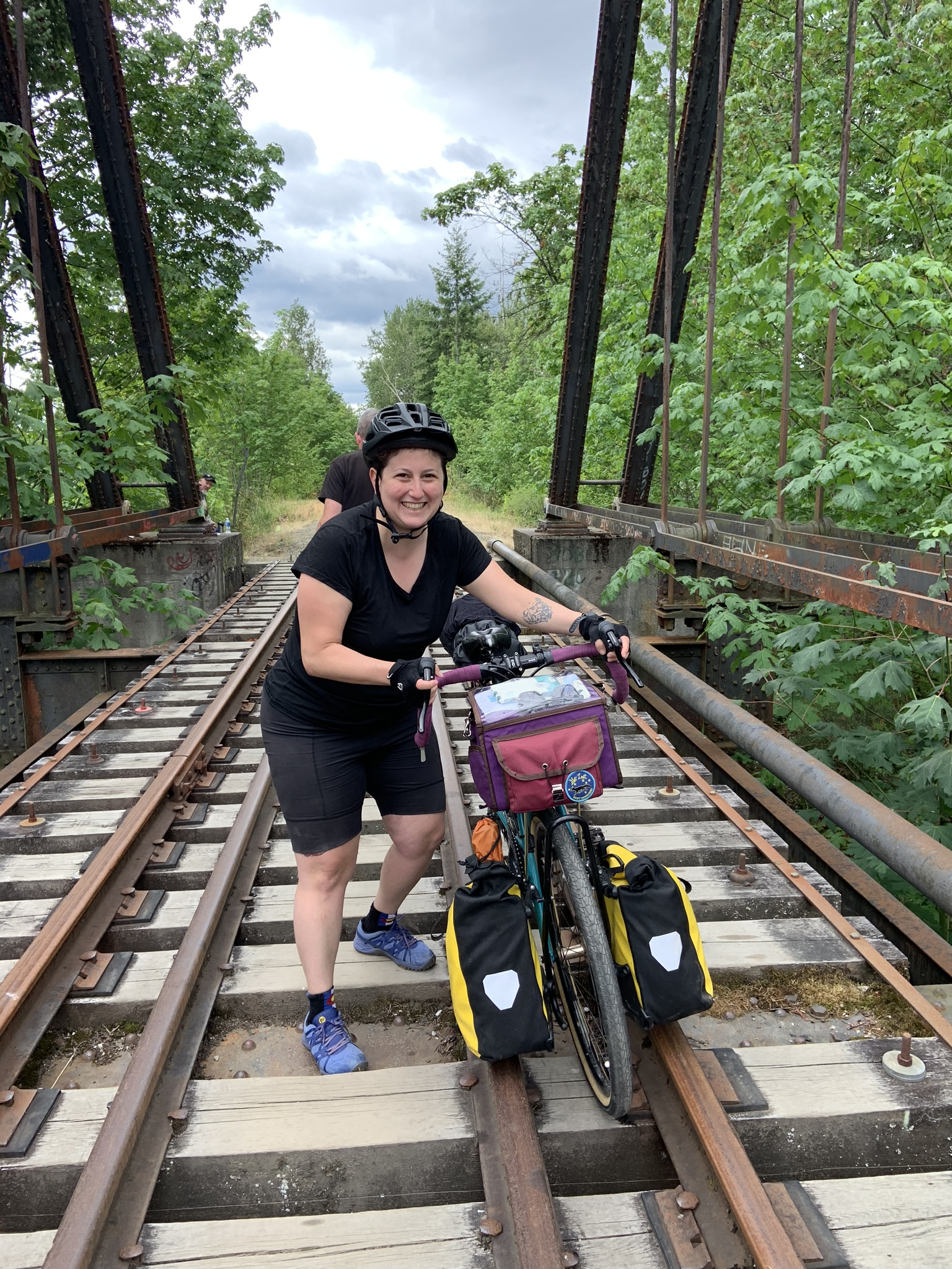 Gabby makes the best of the railroad trestle situation