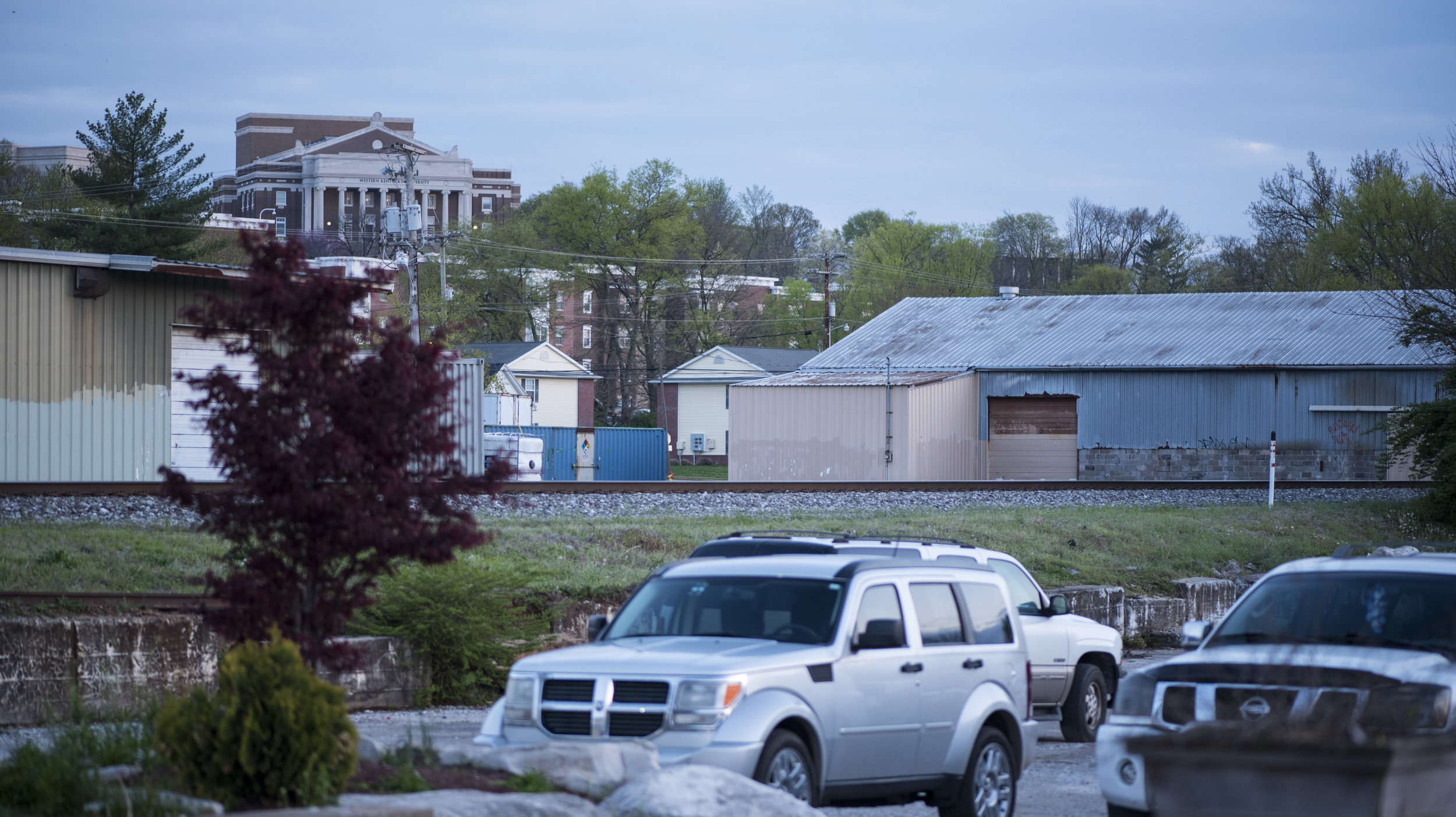 Van Meter Hall on the Campus of Western Kentucky University can be seen from the parking lot across the street from the Light of the World church.