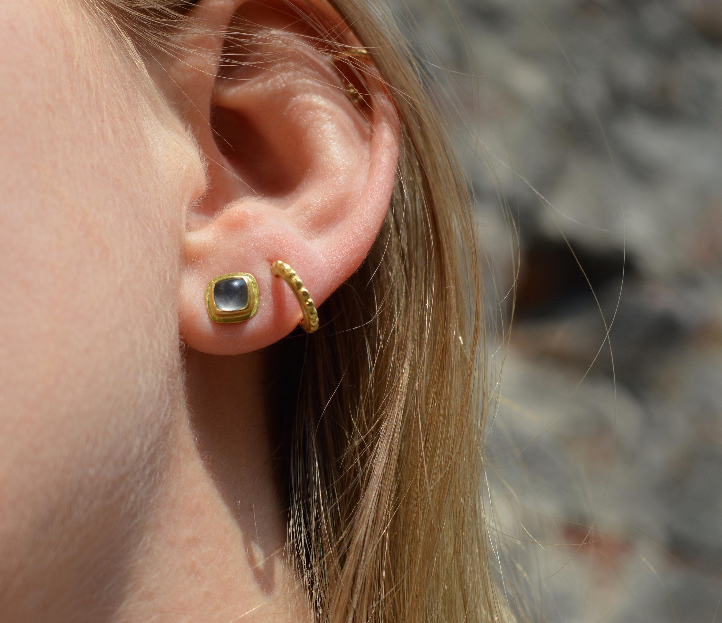 Moonstone Hoop Gold Earrings Post