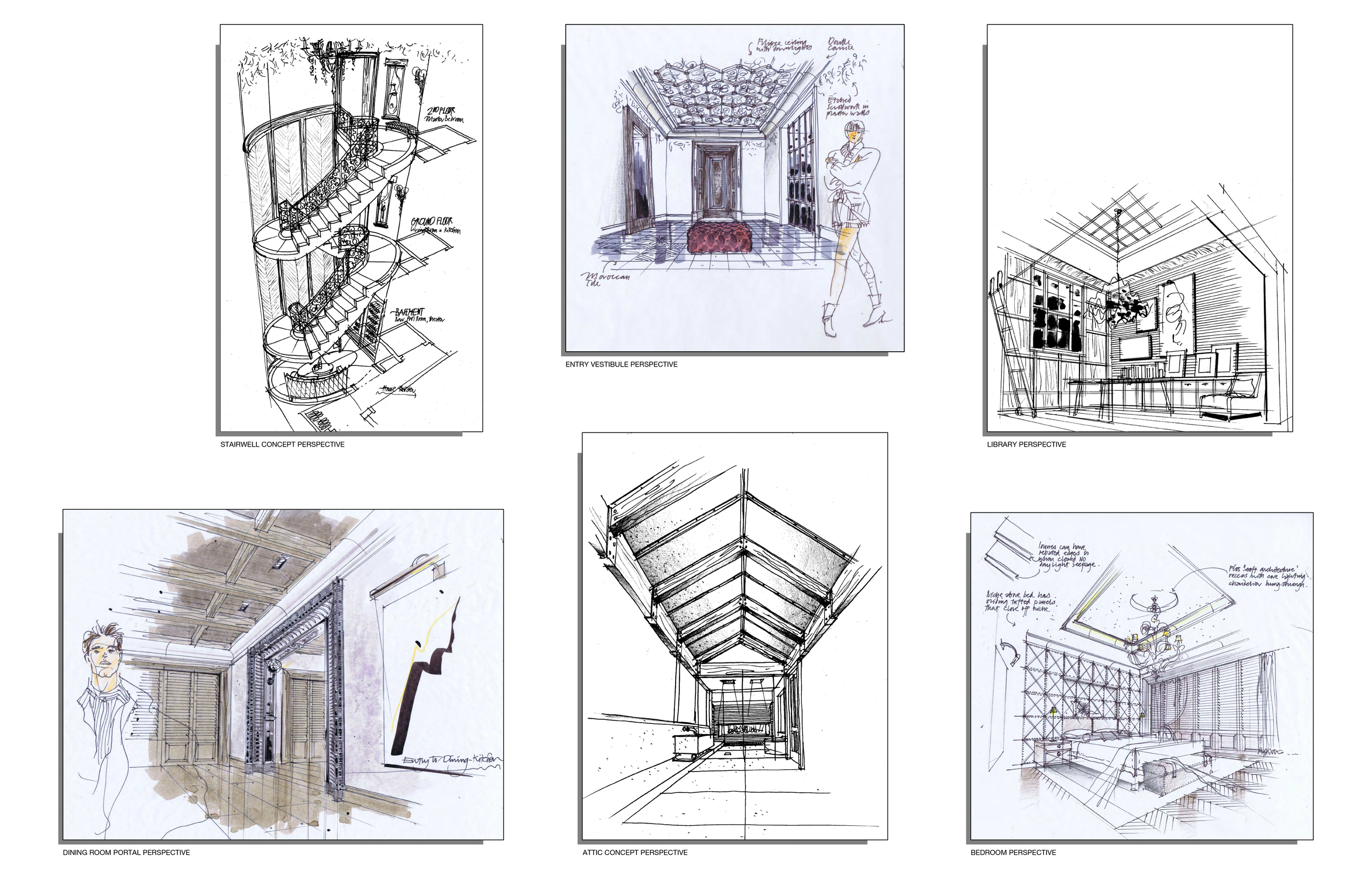 An example of the design sketches used to create this set. Courtesy of Swanson Design