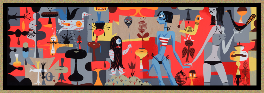 """Black Helium 2005 - 16-Color Serigraph on Wood - 12.5"""" x 40"""" - Ed of 100"""