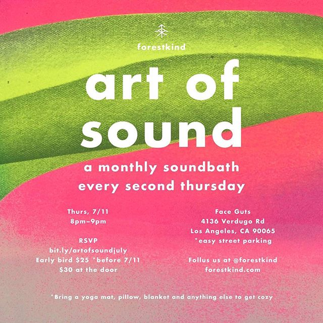 This Thursday at #faceguts (and every 2nd Thursday of the month) @forestkind will host a #soundbath. This time featuring @ximenarenee on #analogsynth and @tbiskup on #gongs. Come get melted. Ticketed event. Link to buy in the @forestkind profile. #artofsound