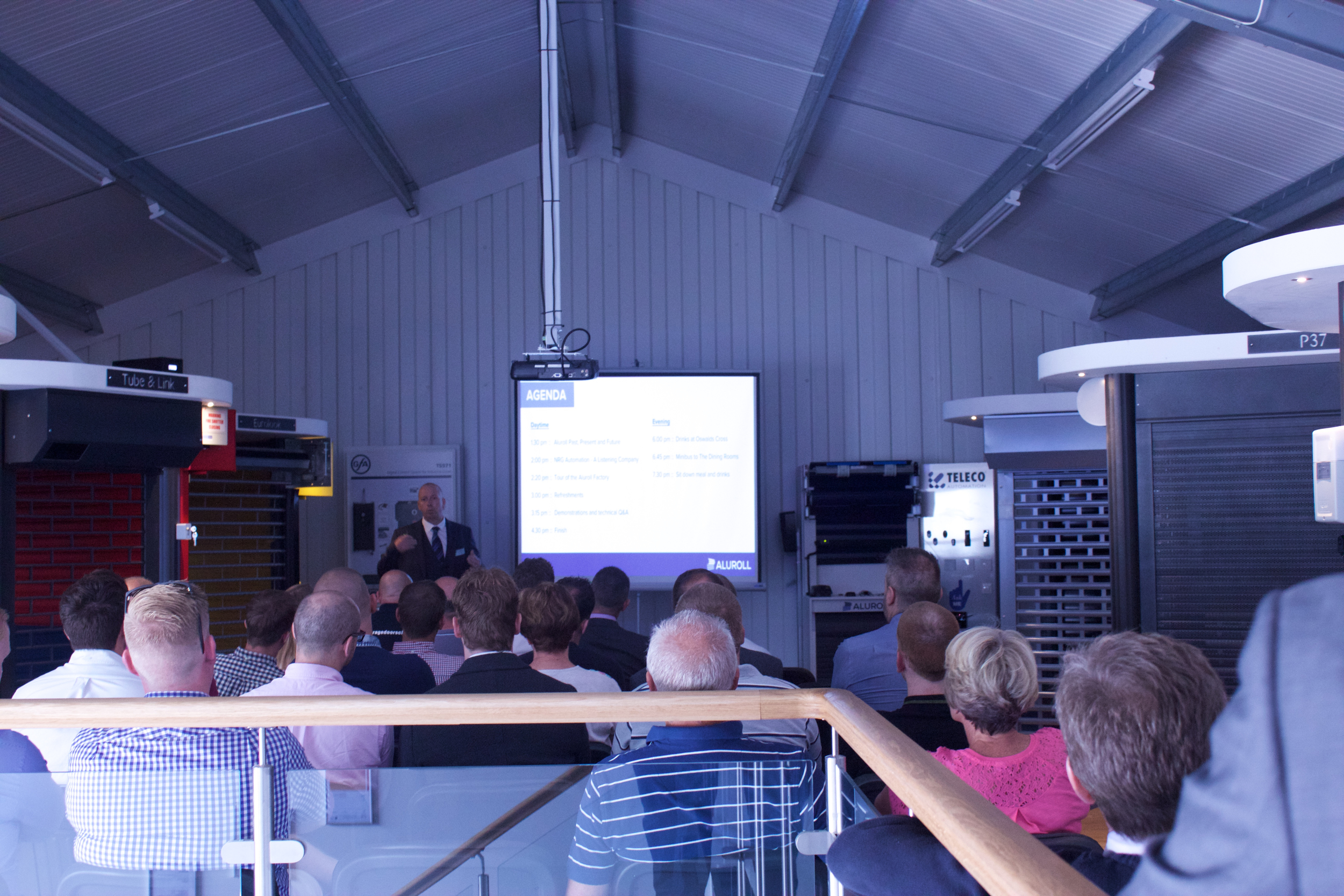 Dave Barwick, General Manager at Aluroll, presenting at the Aluroll Showroom Launch