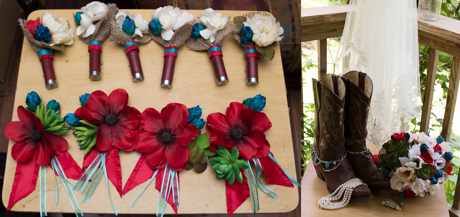 My absolute favorite detail was, hands down,the shot gun shell boutonnieres! LOVED them!