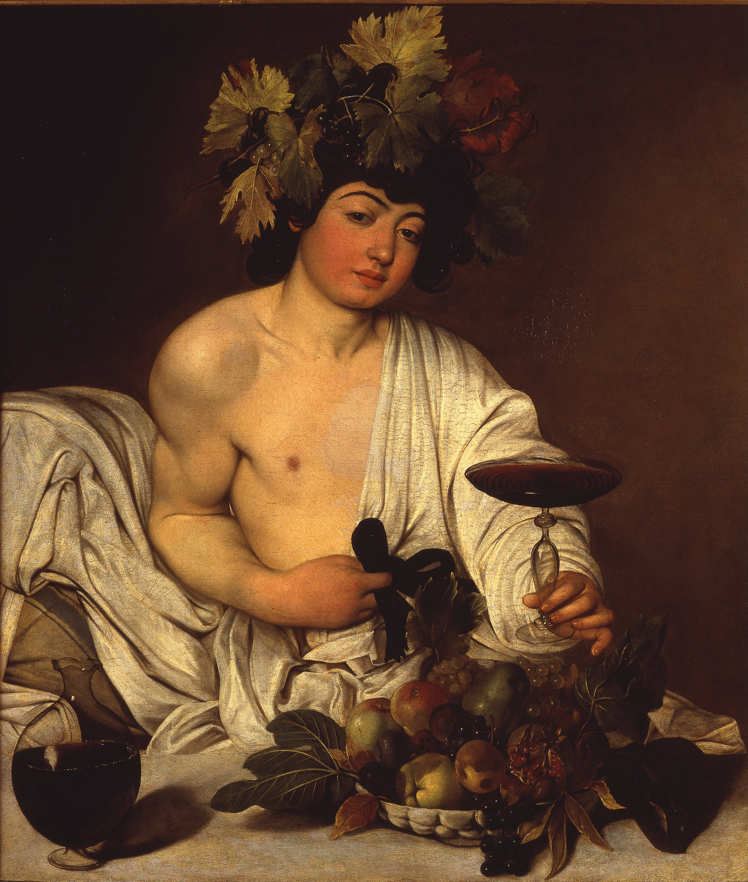 "Caravaggio, ""Boy with a Basket of Fruit"", 1593.               Model is Mario Minniti of Siracusa"