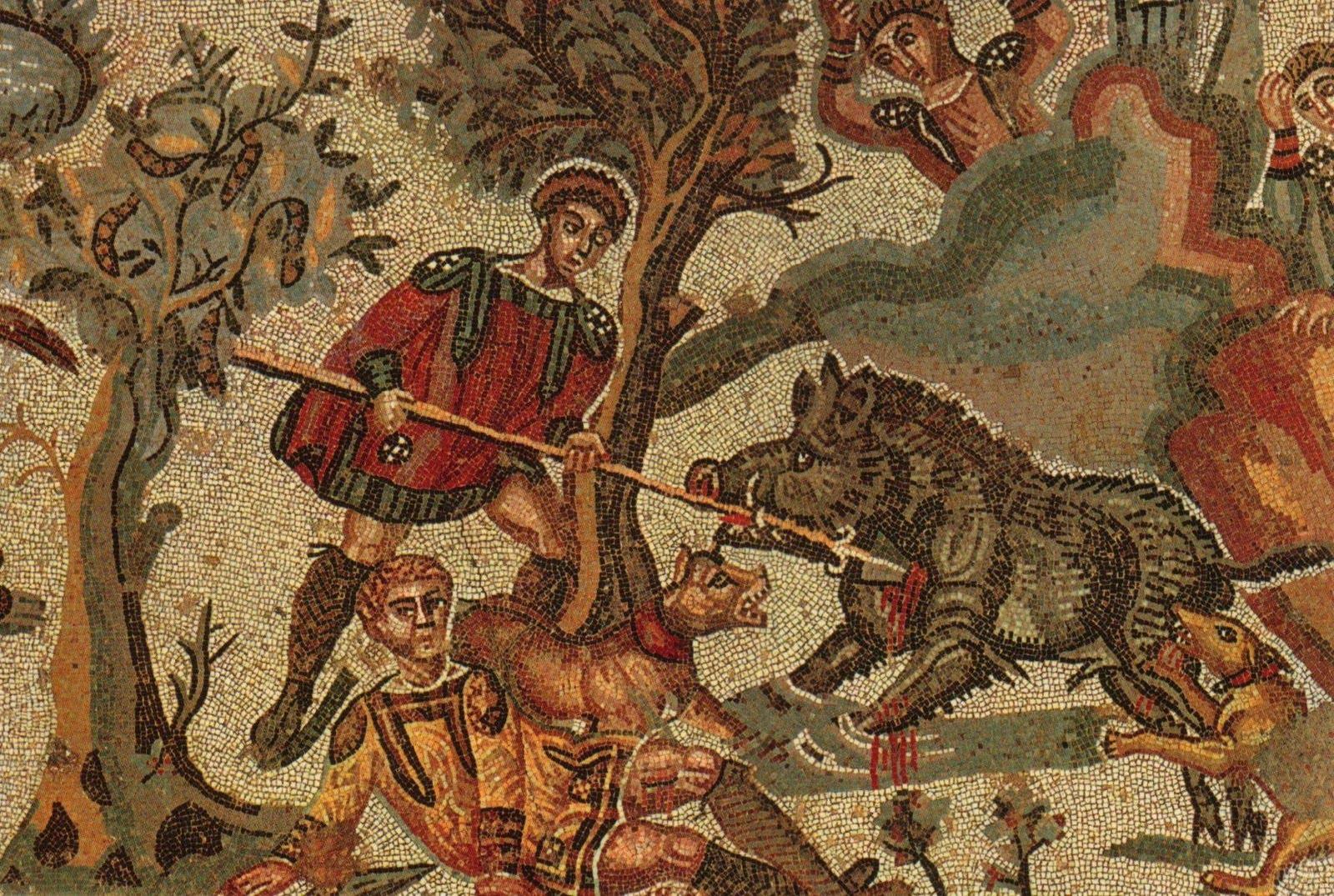 Mosaic detail at the Villa Romana at Casale Photo via  Wikimedia Commons   /  CC BY-3.0