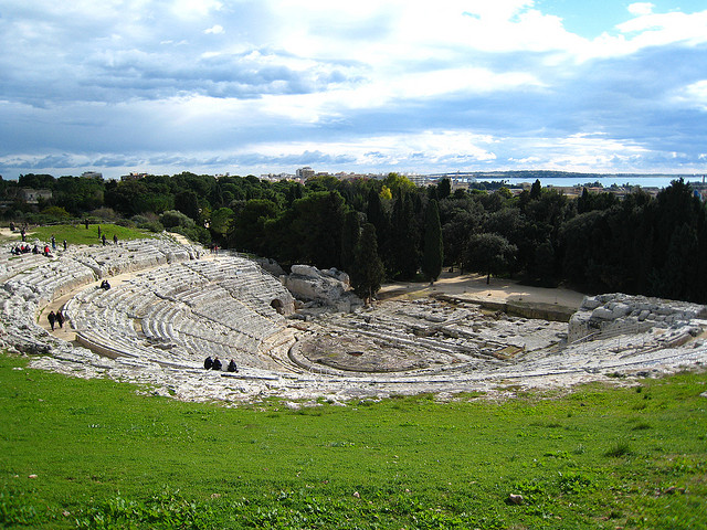 Greek Theatre of Siracusa (by andrewmalone (Teatro Greco) [CC BY 2.0 (creativecommons.org_licenses_by_2.0)], via Wikimedia Commons.jpg