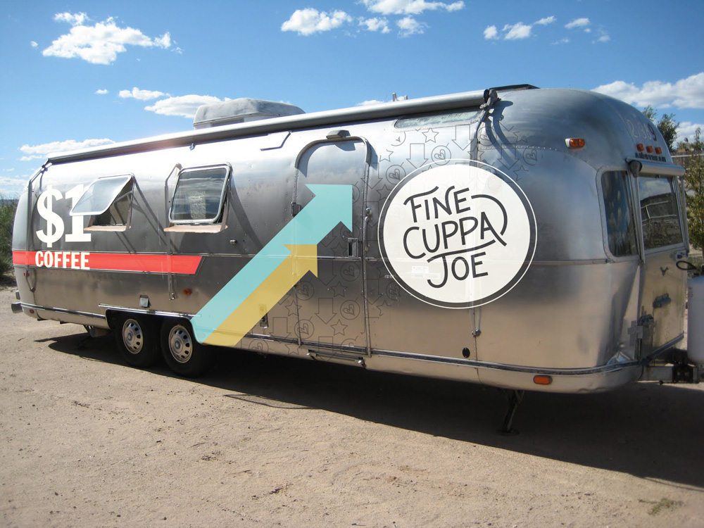 Fine Cuppa Joe's airstream trailer houses a $1 Coffee promotional campaign.