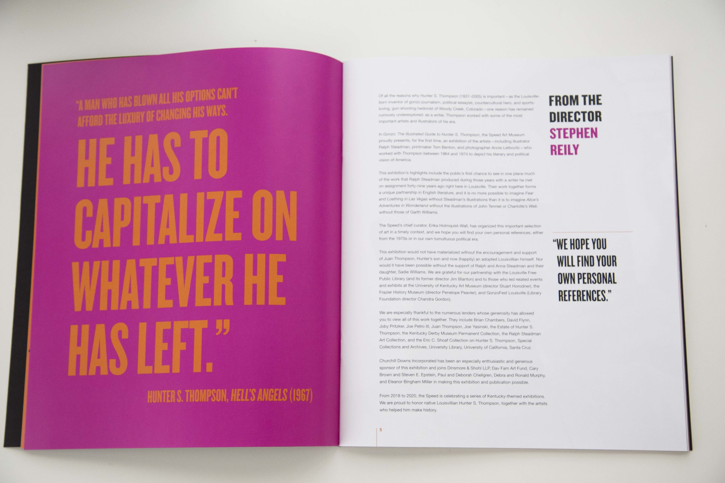 The large quotes and neon colors boldly interrupt the book.
