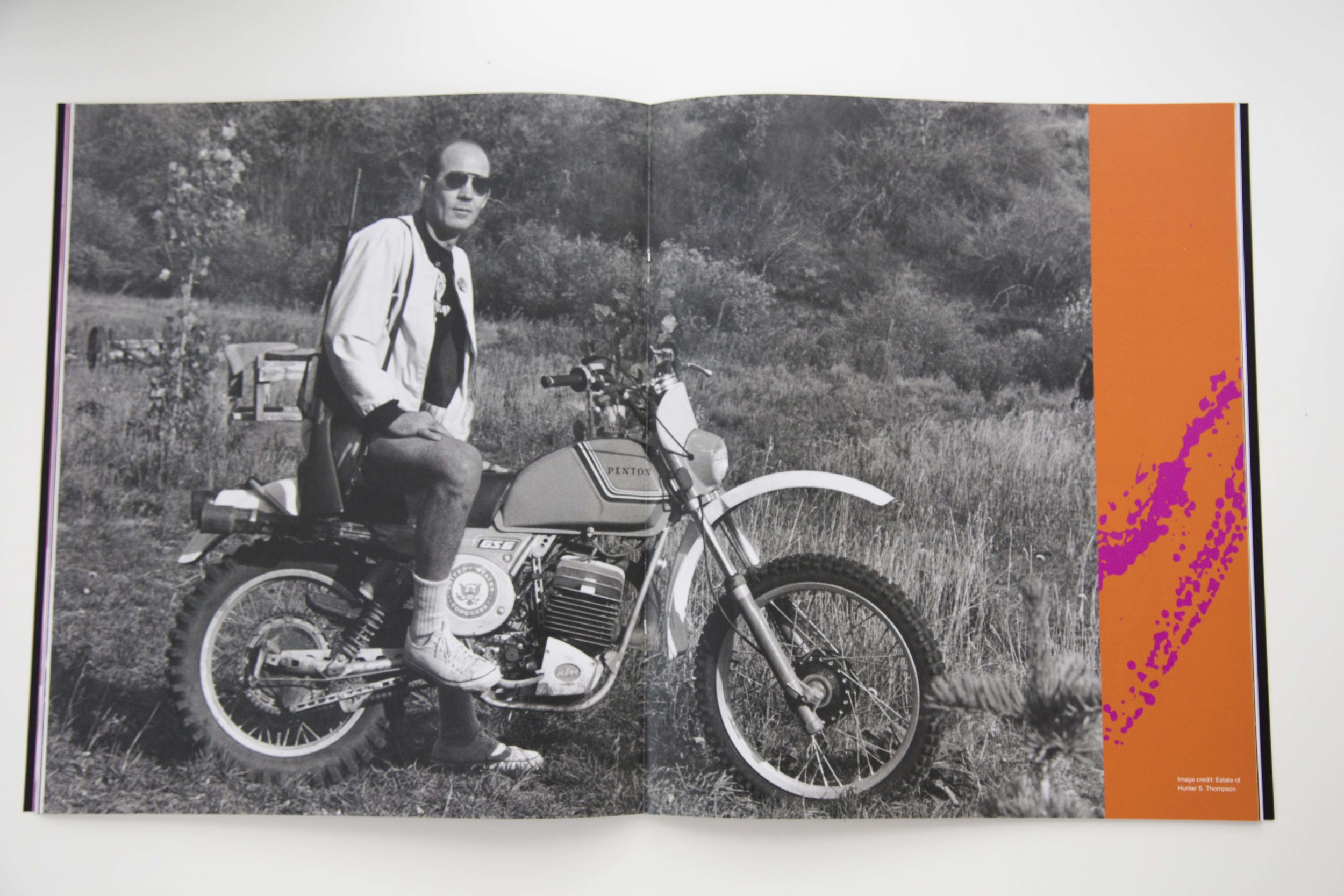 The full bleed center fold image of Hunter S. Thompson on a motorcycle nods to the magazine inspiration of the book.