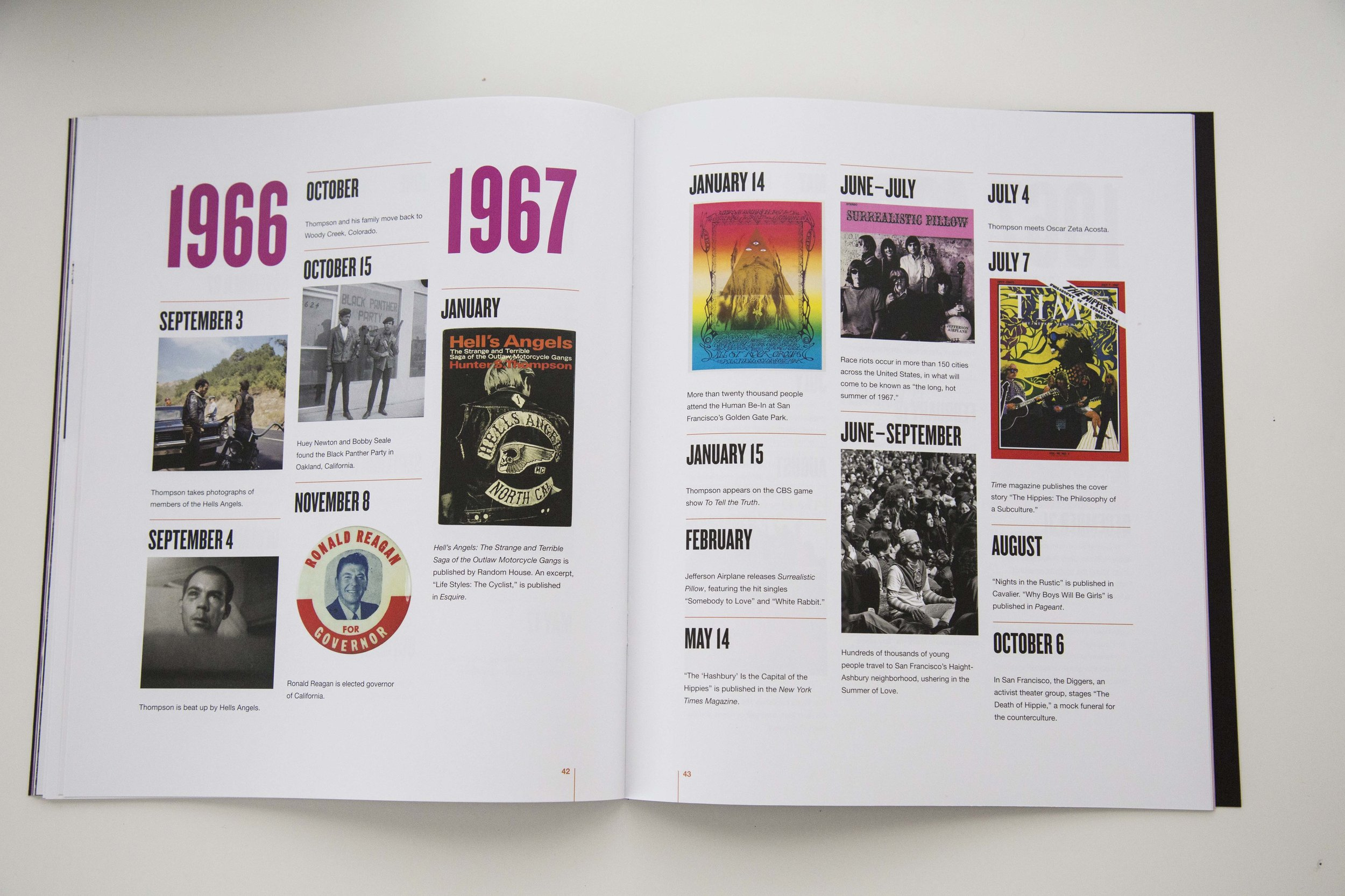 The historical timeline required a new page template but kept the same typography and bold feeling of the rest of the book.