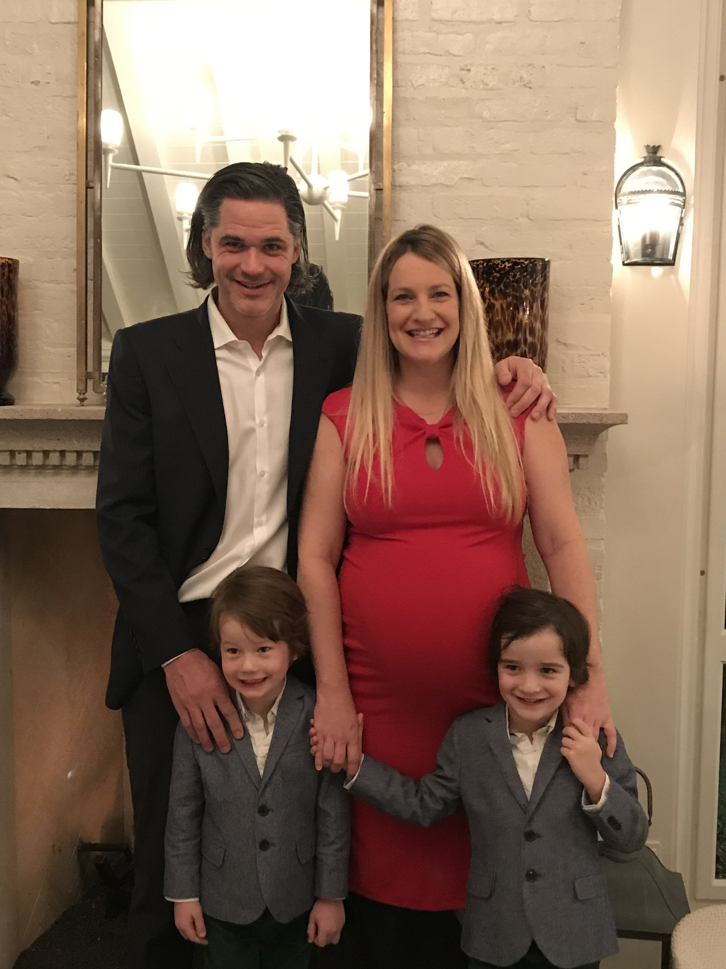 Ben, his wife Caroline, their boys and the baby on the way who arrived in January 2019.