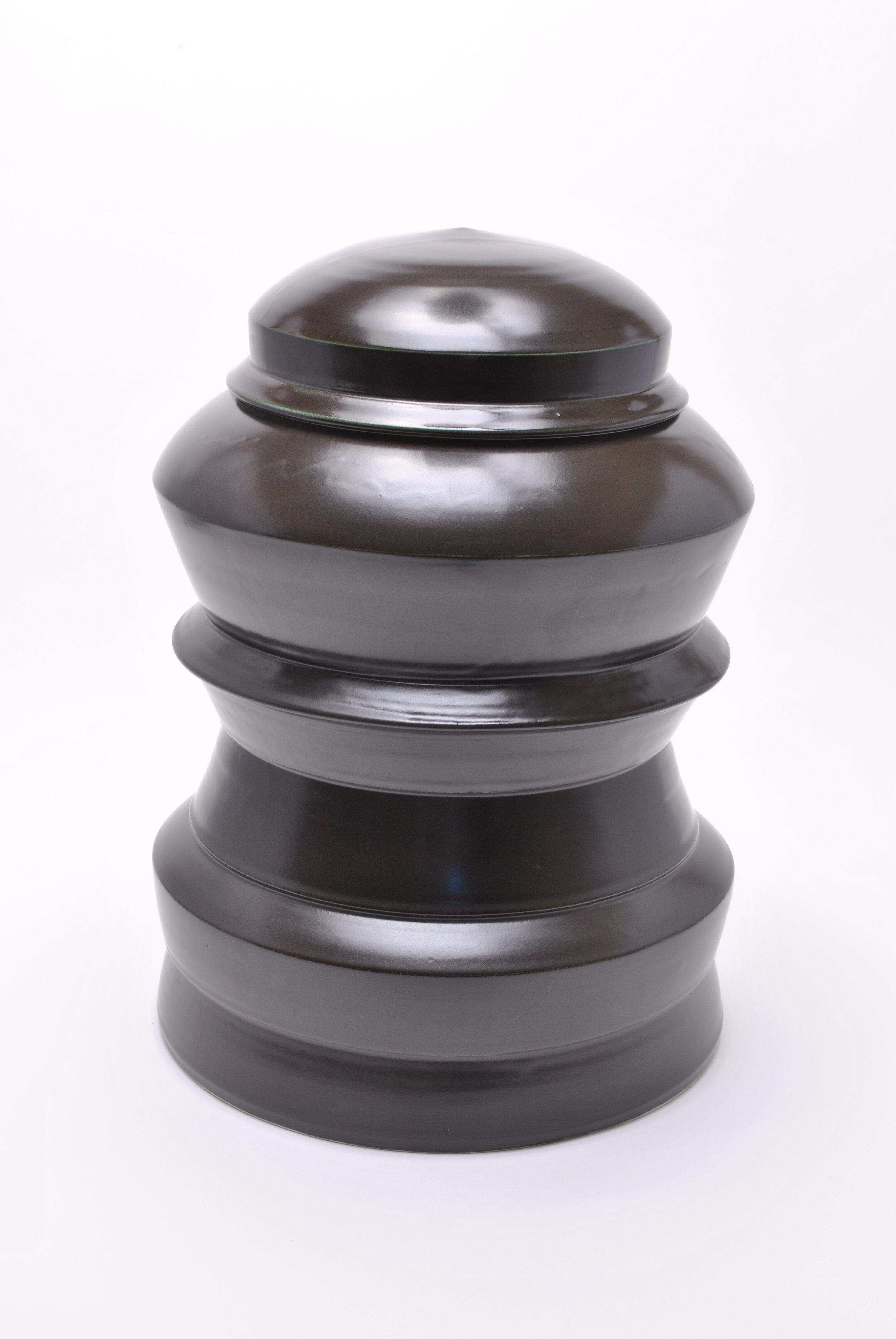 TIERED JAR WITH LID -  Black