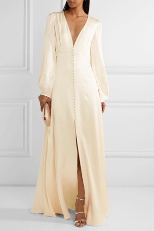 [SOURCE: Refinery29]  Wedding dresses are often huge, layered, textured, and fully beaded. But if you're aiming for simplicity and elegance, you can go for silk-satin gowns like the  Theia V-neck spaghetti strap satin trumpet wedding dress.  It's not as big as your traditional wedding dresses but it's just as sophisticated. It will also show off your great figure, not to mention it's easy to wear and accessorize for the after-party.  Jumpsuits and pants