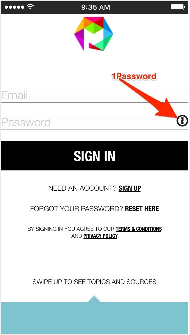 1Password integrated into the sign-in screen of Mosaiscope™