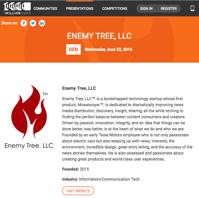 Screenshot from 1MillionCups Website featuring Mosaiscope™ & Enemy Tree, LLC™